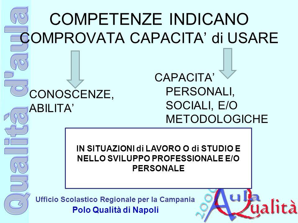 Ufficio Scolastico Regionale per la Campania Polo Qualità di Napoli COMPETENZE INDICANO COMPROVATA CAPACITA di USARE CONOSCENZE, ABILITA CAPACITA PERS