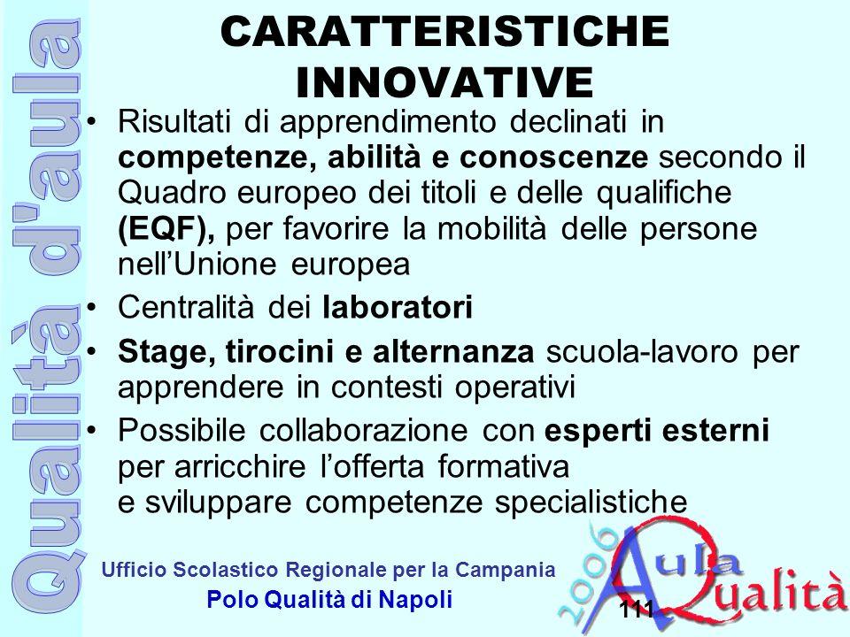 Ufficio Scolastico Regionale per la Campania Polo Qualità di Napoli 111 CARATTERISTICHE INNOVATIVE Risultati di apprendimento declinati in competenze,