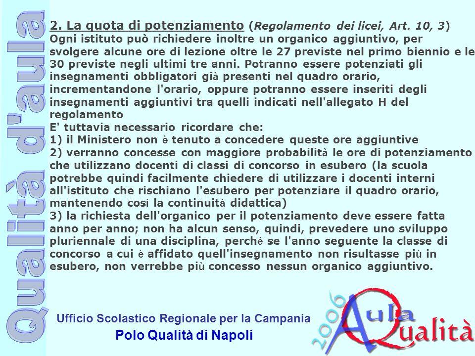 Ufficio Scolastico Regionale per la Campania Polo Qualità di Napoli 2. La quota di potenziamento (Regolamento dei licei, Art. 10, 3) Ogni istituto può
