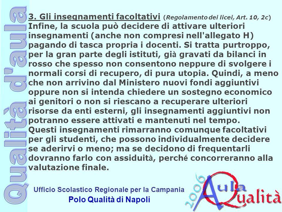 Ufficio Scolastico Regionale per la Campania Polo Qualità di Napoli 3. Gli insegnamenti facoltativi (Regolamento dei licei, Art. 10, 2c) Infine, la sc