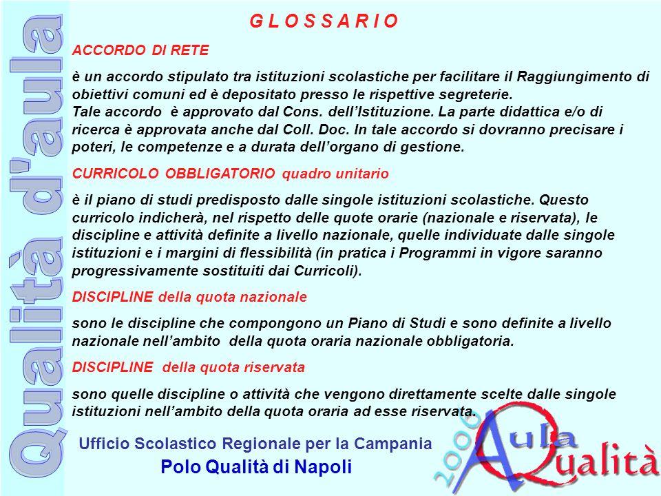 Ufficio Scolastico Regionale per la Campania Polo Qualità di Napoli G L O S S A R I O ACCORDO DI RETE è un accordo stipulato tra istituzioni scolastic