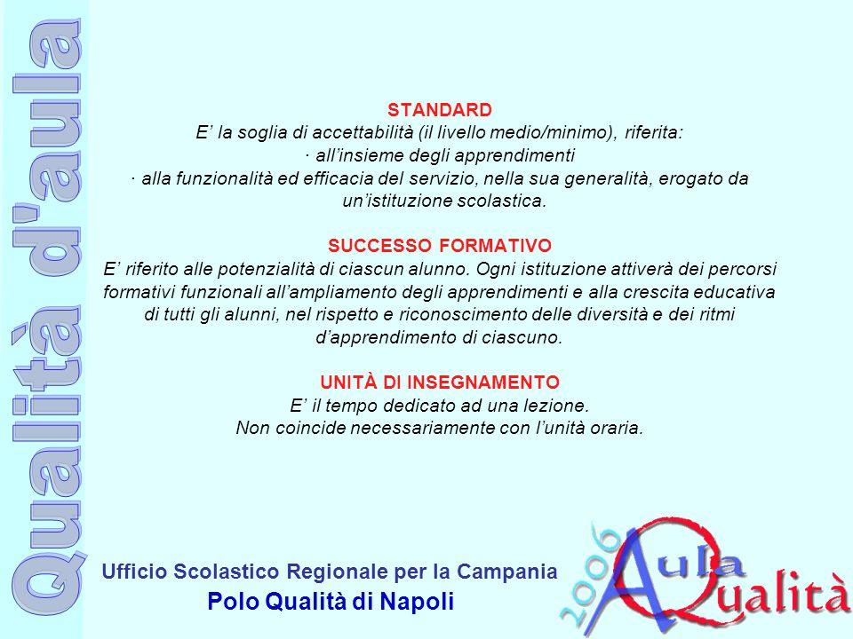 Ufficio Scolastico Regionale per la Campania Polo Qualità di Napoli STANDARD E la soglia di accettabilità (il livello medio/minimo), riferita: · allin