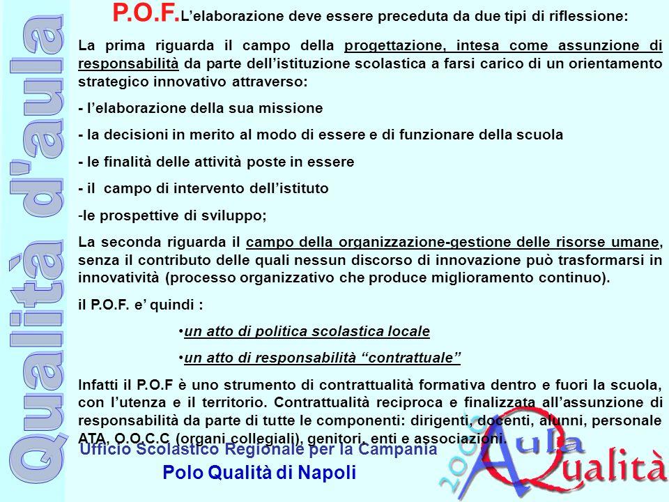 Ufficio Scolastico Regionale per la Campania Polo Qualità di Napoli P.O.F. Lelaborazione deve essere preceduta da due tipi di riflessione: La prima ri