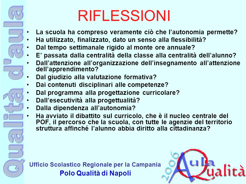 Ufficio Scolastico Regionale per la Campania Polo Qualità di Napoli RIFLESSIONI La scuola ha compreso veramente ciò che lautonomia permette? Ha utiliz