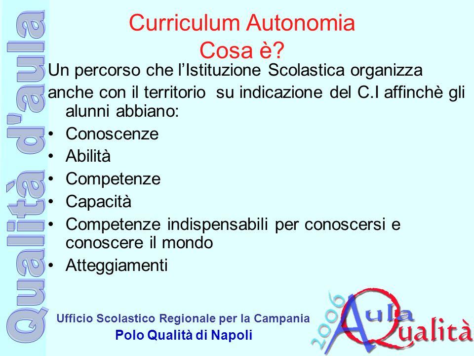 Ufficio Scolastico Regionale per la Campania Polo Qualità di Napoli Curriculum Autonomia Cosa è? Un percorso che lIstituzione Scolastica organizza anc