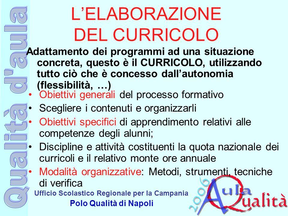 Ufficio Scolastico Regionale per la Campania Polo Qualità di Napoli LELABORAZIONE DEL CURRICOLO Obiettivi generali del processo formativo Scegliere i