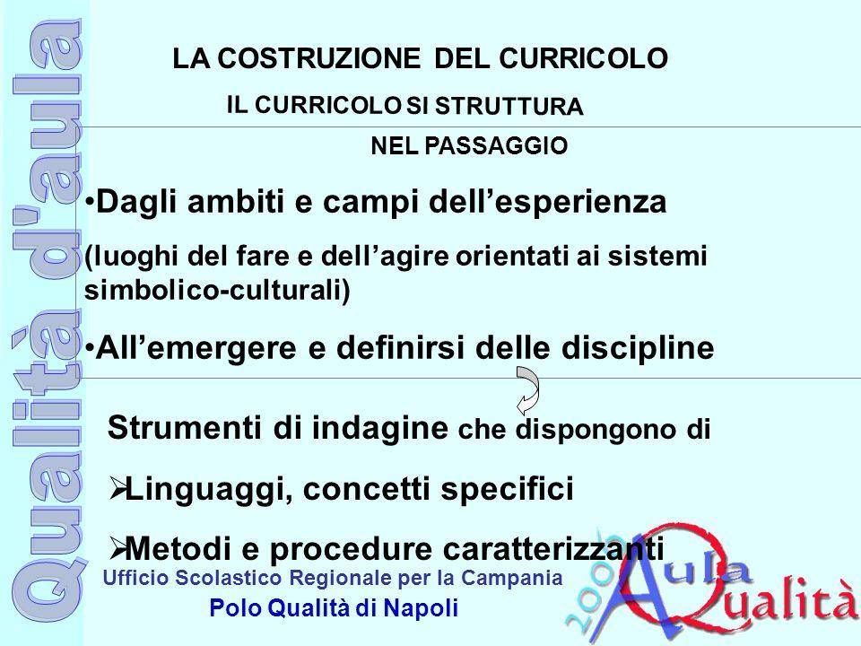Ufficio Scolastico Regionale per la Campania Polo Qualità di Napoli LA COSTRUZIONE DEL CURRICOLO IL CURRICOLO SI STRUTTURA NEL PASSAGGIO Dagli ambiti