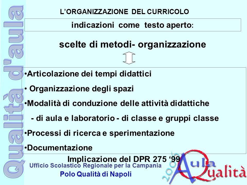 Ufficio Scolastico Regionale per la Campania Polo Qualità di Napoli LORGANIZZAZIONE DEL CURRICOLO Articolazione dei tempi didattici Organizzazione deg