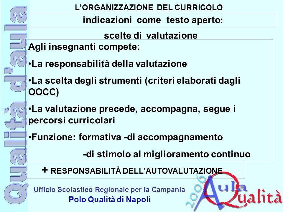 Ufficio Scolastico Regionale per la Campania Polo Qualità di Napoli LORGANIZZAZIONE DEL CURRICOLO indicazioni come testo aperto : scelte di valutazion
