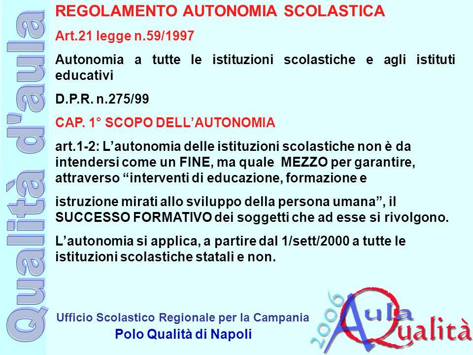 Ufficio Scolastico Regionale per la Campania Polo Qualità di Napoli REGOLAMENTO AUTONOMIA SCOLASTICA Art.21 legge n.59/1997 Autonomia a tutte le istit