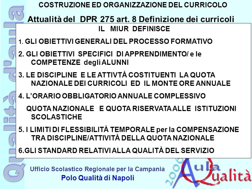 Ufficio Scolastico Regionale per la Campania Polo Qualità di Napoli COSTRUZIONE ED ORGANIZZAZIONE DEL CURRICOLO Attualità del DPR 275 art. 8 Definizio