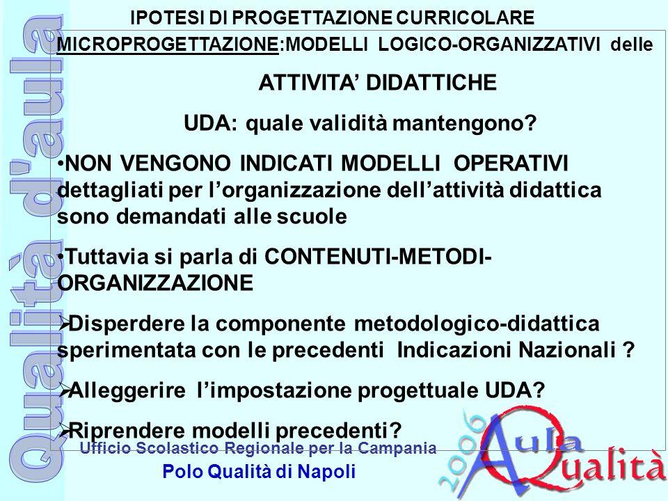 Ufficio Scolastico Regionale per la Campania Polo Qualità di Napoli IPOTESI DI PROGETTAZIONE CURRICOLARE MICROPROGETTAZIONE:MODELLI LOGICO-ORGANIZZATI