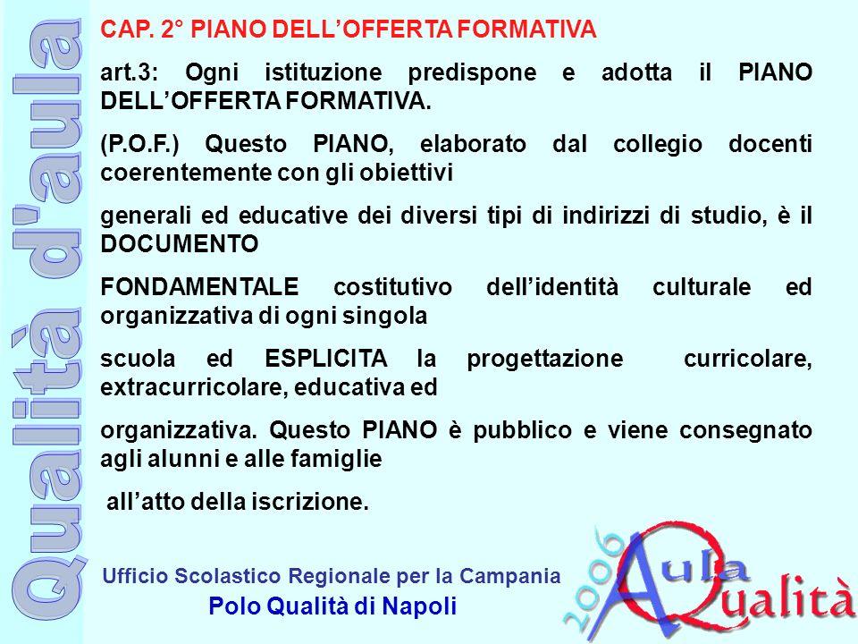 Ufficio Scolastico Regionale per la Campania Polo Qualità di Napoli CAP. 2° PIANO DELLOFFERTA FORMATIVA art.3: Ogni istituzione predispone e adotta il