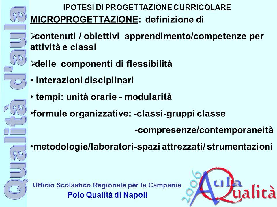 Ufficio Scolastico Regionale per la Campania Polo Qualità di Napoli IPOTESI DI PROGETTAZIONE CURRICOLARE MICROPROGETTAZIONE: definizione di contenuti