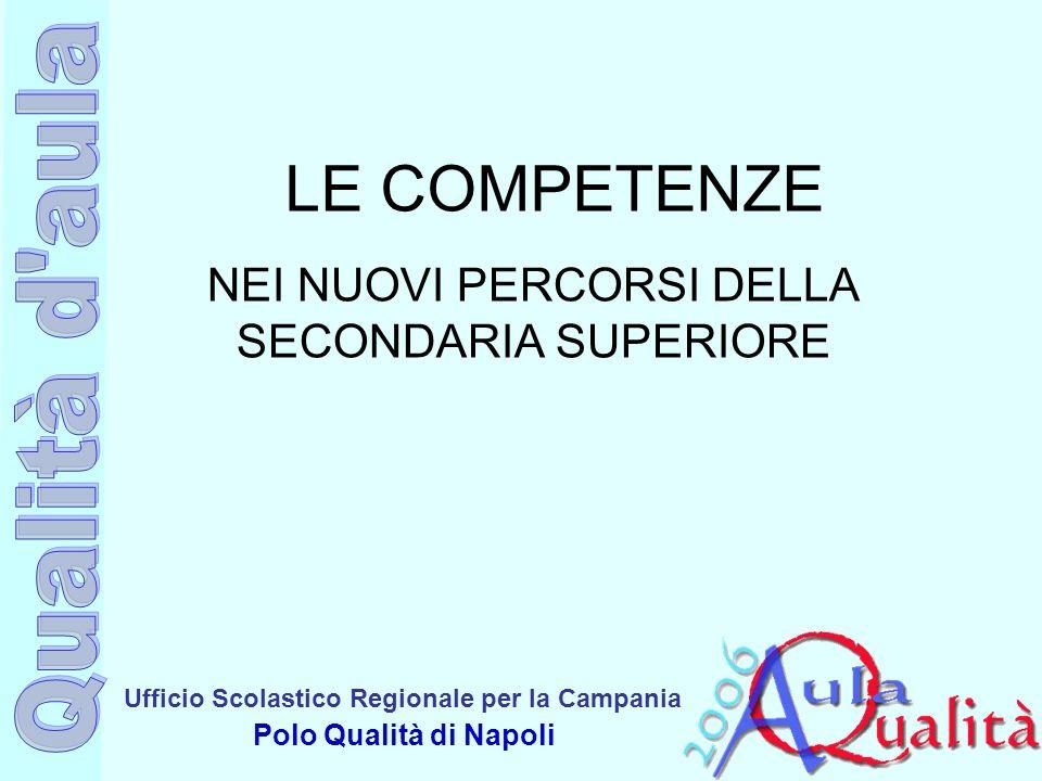 Ufficio Scolastico Regionale per la Campania Polo Qualità di Napoli LE COMPETENZE NEI NUOVI PERCORSI DELLA SECONDARIA SUPERIORE