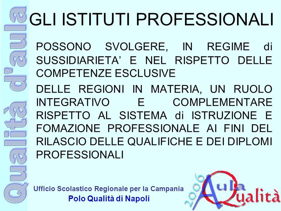 Ufficio Scolastico Regionale per la Campania Polo Qualità di Napoli GLI ISTITUTI PROFESSIONALI POSSONO SVOLGERE, IN REGIME di SUSSIDIARIETA E NEL RISP
