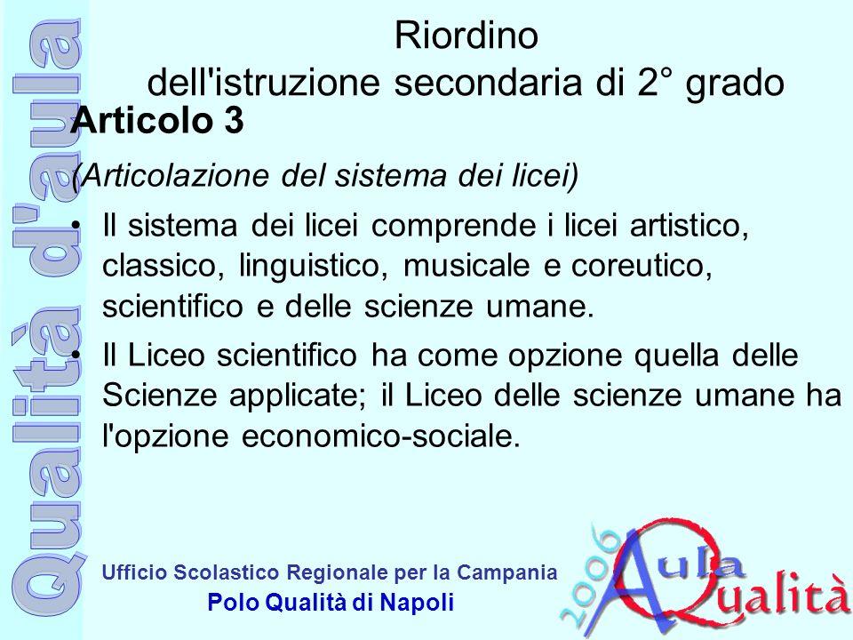 Ufficio Scolastico Regionale per la Campania Polo Qualità di Napoli Riordino dell'istruzione secondaria di 2° grado Articolo 3 (Articolazione del sist