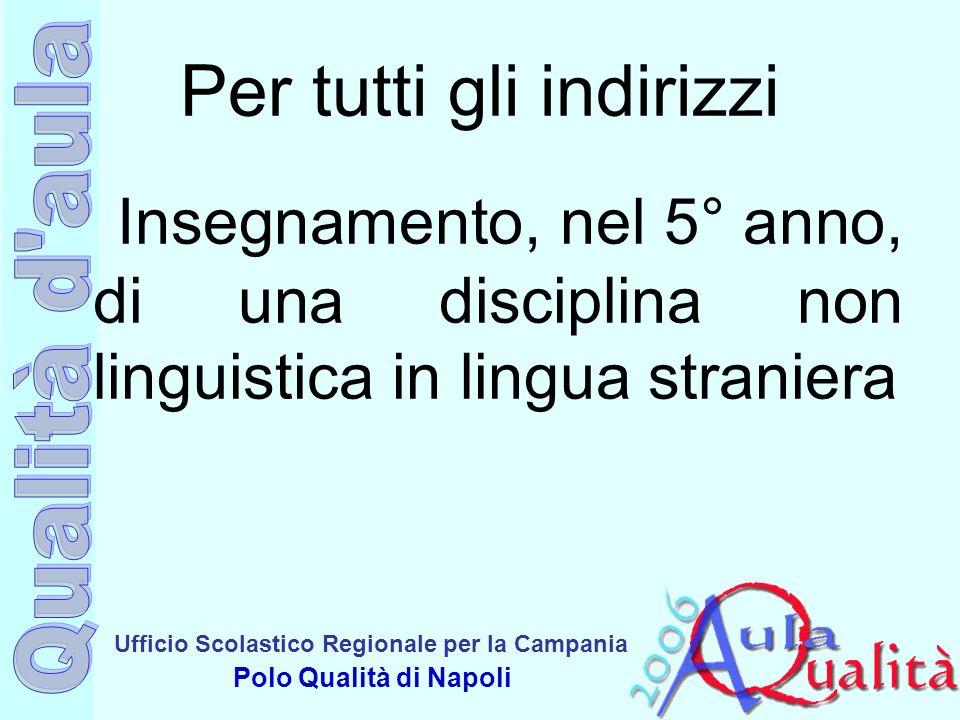 Ufficio Scolastico Regionale per la Campania Polo Qualità di Napoli Per tutti gli indirizzi Insegnamento, nel 5° anno, di una disciplina non linguisti