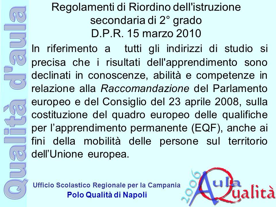 Ufficio Scolastico Regionale per la Campania Polo Qualità di Napoli Regolamenti di Riordino dell'istruzione secondaria di 2° grado D.P.R. 15 marzo 201