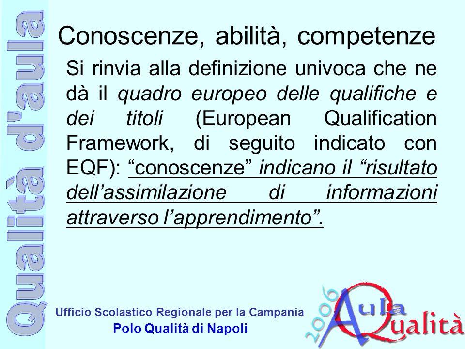 Ufficio Scolastico Regionale per la Campania Polo Qualità di Napoli Conoscenze, abilità, competenze Si rinvia alla definizione univoca che ne dà il qu