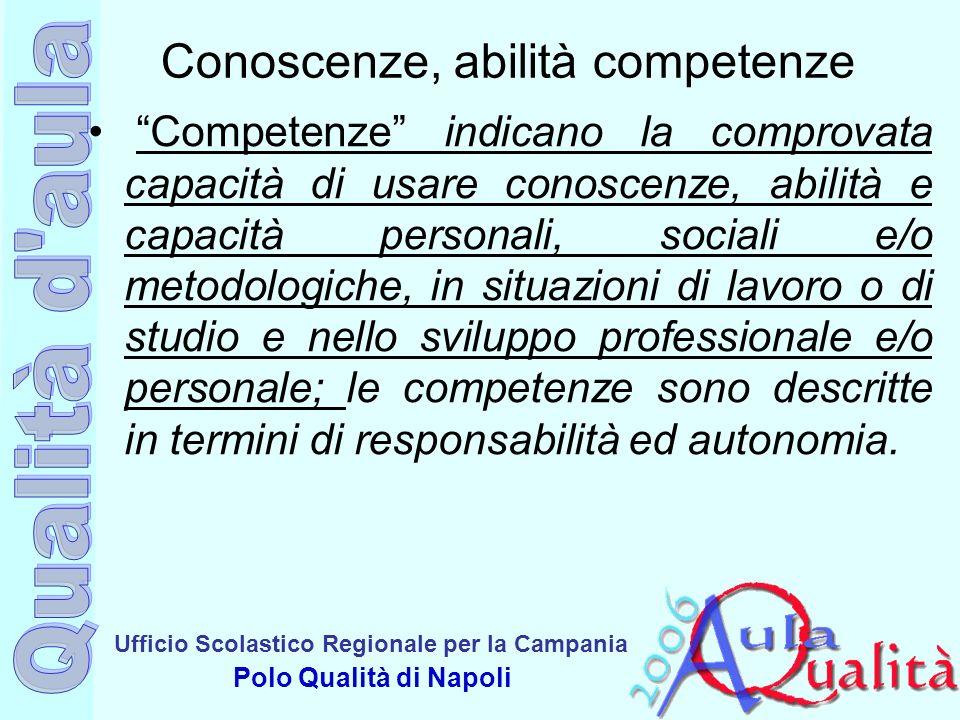 Ufficio Scolastico Regionale per la Campania Polo Qualità di Napoli Conoscenze, abilità competenze Competenze indicano la comprovata capacità di usare