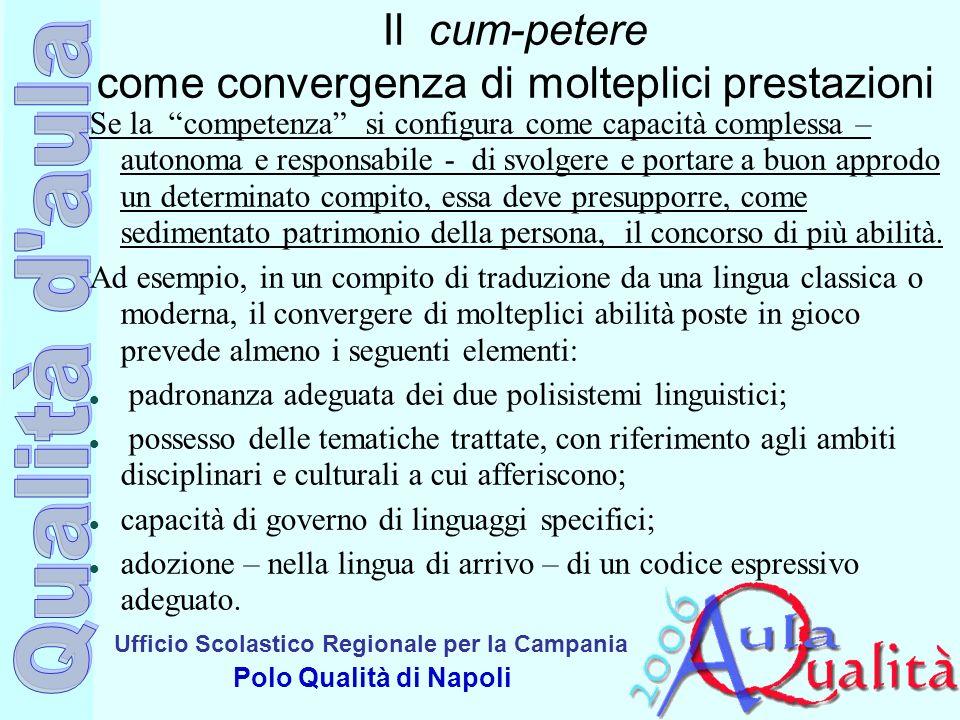 Ufficio Scolastico Regionale per la Campania Polo Qualità di Napoli Il cum-petere come convergenza di molteplici prestazioni Se la competenza si confi