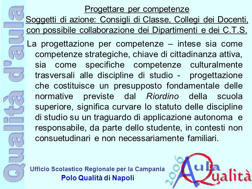 Ufficio Scolastico Regionale per la Campania Polo Qualità di Napoli Progettare per competenze Soggetti di azione: Consigli di Classe, Collegi dei Doce