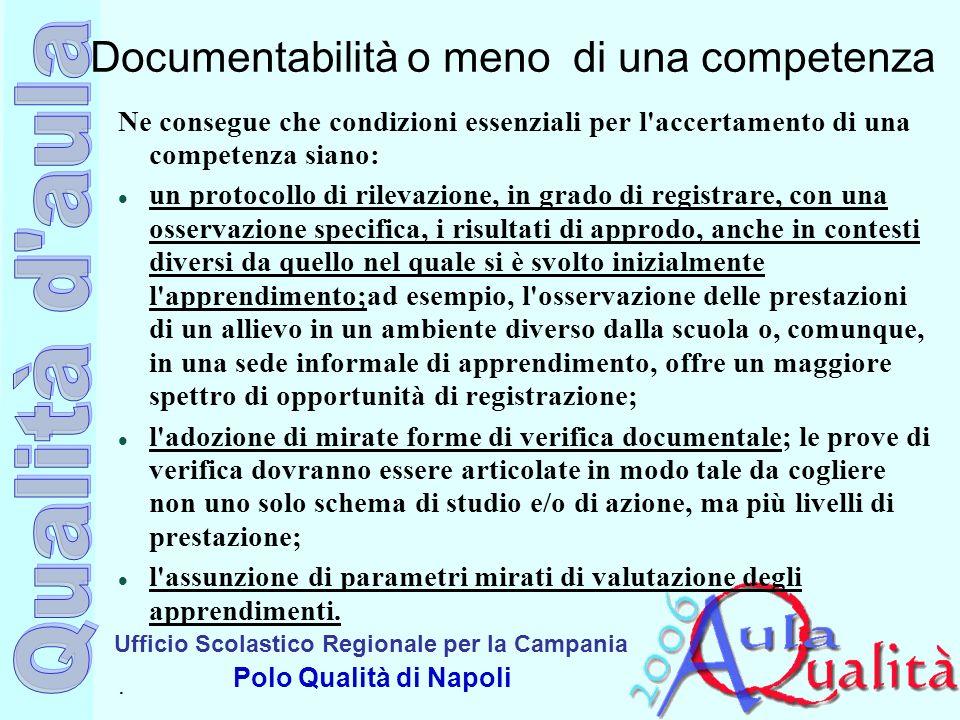 Ufficio Scolastico Regionale per la Campania Polo Qualità di Napoli Documentabilità o meno di una competenza Ne consegue che condizioni essenziali per