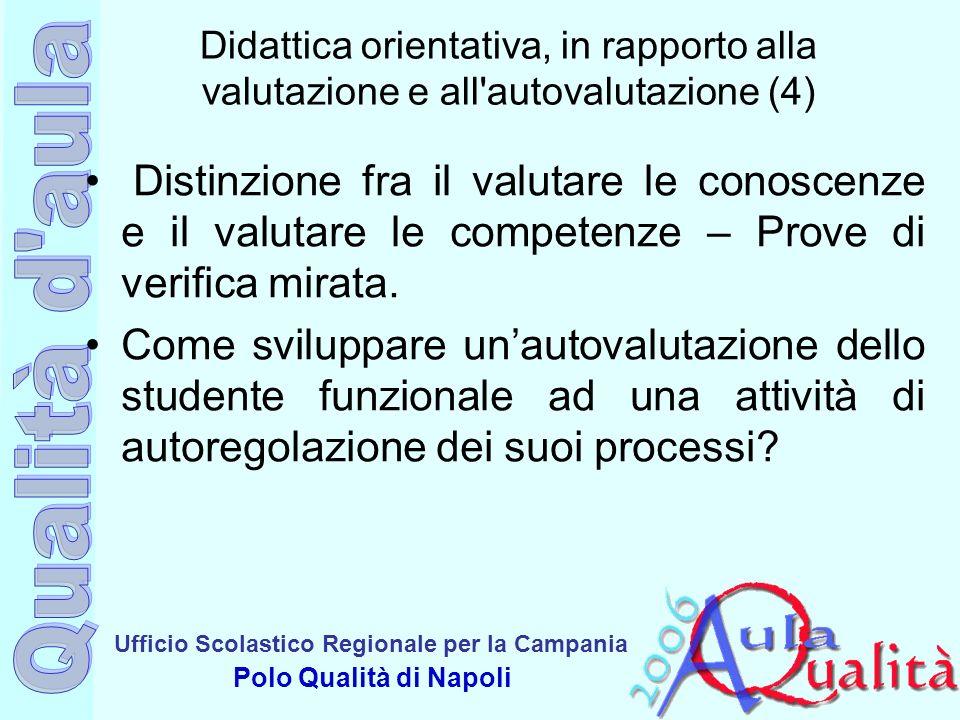 Ufficio Scolastico Regionale per la Campania Polo Qualità di Napoli Didattica orientativa, in rapporto alla valutazione e all'autovalutazione (4) Dist