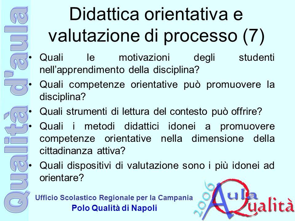 Ufficio Scolastico Regionale per la Campania Polo Qualità di Napoli Didattica orientativa e valutazione di processo (7) Quali le motivazioni degli stu