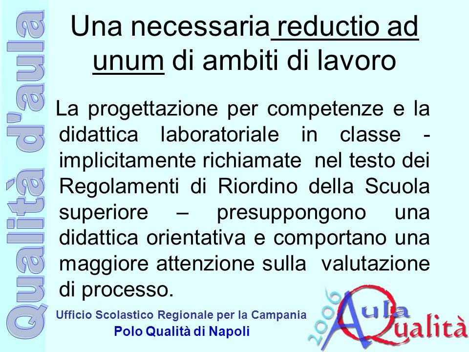 Ufficio Scolastico Regionale per la Campania Polo Qualità di Napoli Una necessaria reductio ad unum di ambiti di lavoro La progettazione per competenz