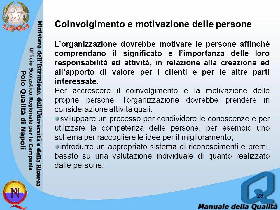 28 Coinvolgimento e motivazione delle persone Lorganizzazione dovrebbe motivare le persone affinché comprendano il significato e limportanza delle loro responsabilità ed attività, in relazione alla creazione ed allapporto di valore per i clienti e per le altre parti interessate.