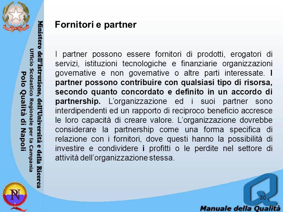 30 Fornitori e partner I partner possono essere fornitori di prodotti, erogatori di servizi, istituzioni tecnologiche e finanziarie organizzazioni governative e non governative o altre parti interessate.