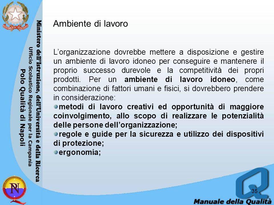 35 Lorganizzazione dovrebbe mettere a disposizione e gestire un ambiente di lavoro idoneo per conseguire e mantenere il proprio successo durevole e la competitività dei propri prodotti.