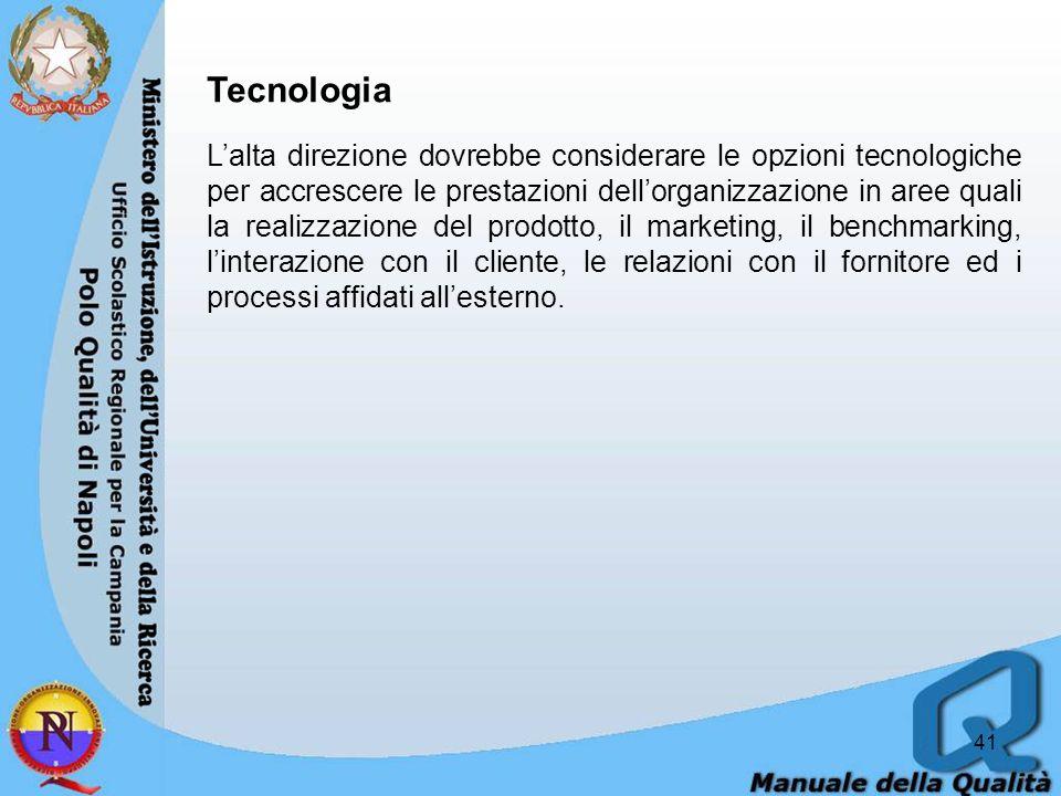 41 Tecnologia Lalta direzione dovrebbe considerare le opzioni tecnologiche per accrescere le prestazioni dellorganizzazione in aree quali la realizzazione del prodotto, il marketing, il benchmarking, linterazione con il cliente, le relazioni con il fornitore ed i processi affidati allesterno.
