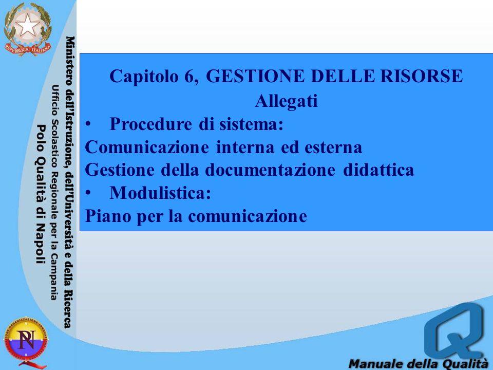Capitolo 6, GESTIONE DELLE RISORSE Allegati Procedure di sistema: Comunicazione interna ed esterna Gestione della documentazione didattica Modulistica: Piano per la comunicazione