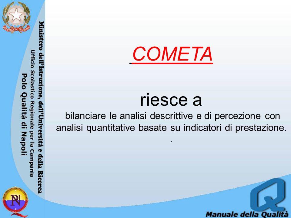 COMETA riesce a bilanciare le analisi descrittive e di percezione con analisi quantitative basate su indicatori di prestazione..