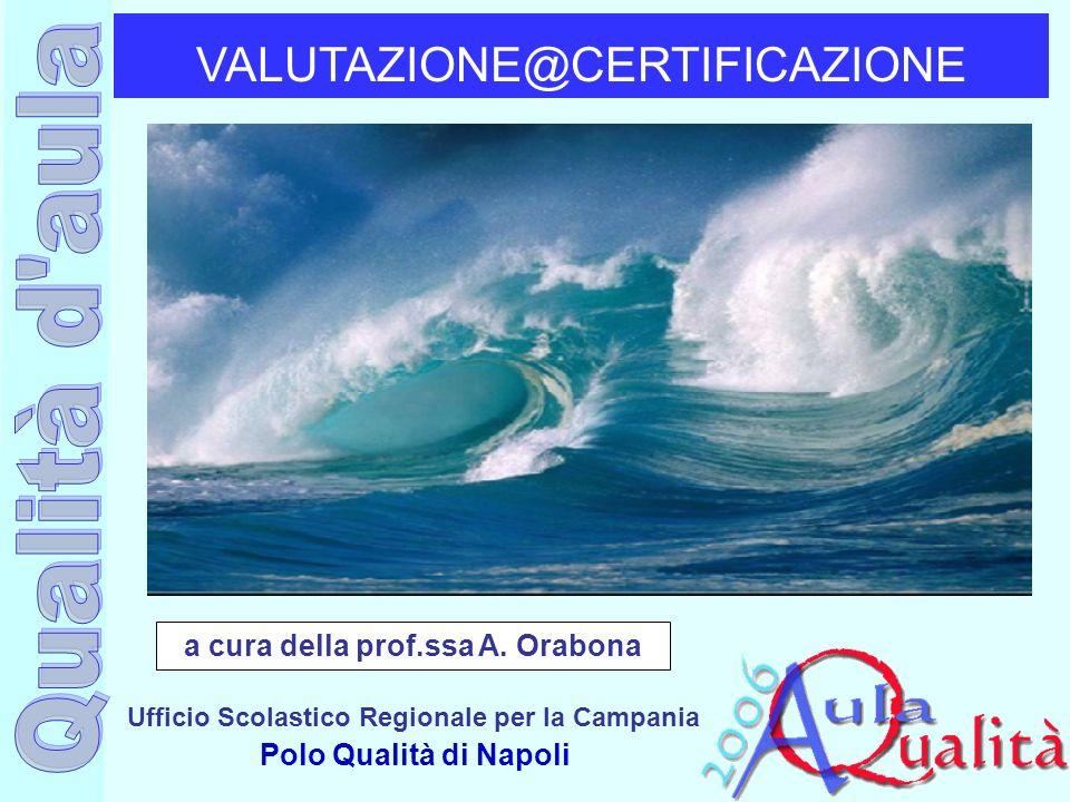 Ufficio Scolastico Regionale per la Campania Polo Qualità di Napoli VALUTAZIONE@CERTIFICAZIONE a cura della prof.ssa A. Orabona