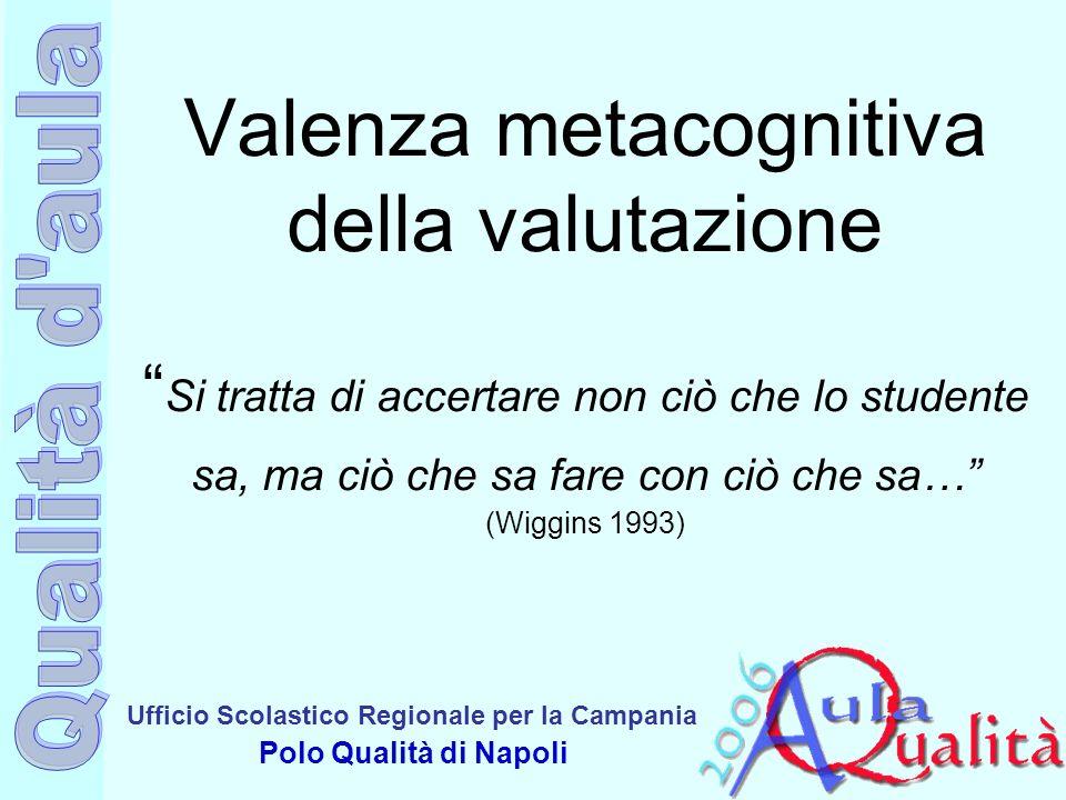 Ufficio Scolastico Regionale per la Campania Polo Qualità di Napoli Valenza metacognitiva della valutazione Si tratta di accertare non ciò che lo stud