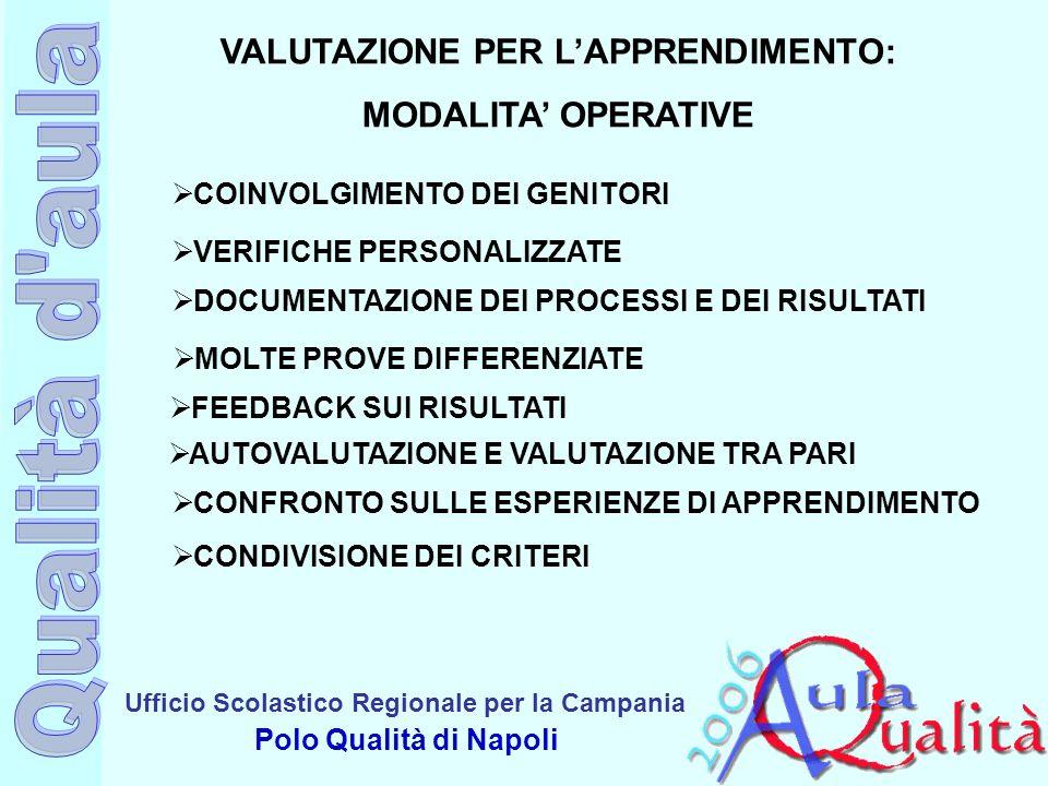 Ufficio Scolastico Regionale per la Campania Polo Qualità di Napoli VALUTAZIONE PER LAPPRENDIMENTO: MODALITA OPERATIVE COINVOLGIMENTO DEI GENITORI VER