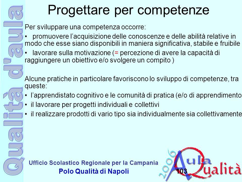 Ufficio Scolastico Regionale per la Campania Polo Qualità di Napoli103 Progettare per competenze Per sviluppare una competenza occorre: promuovere lac