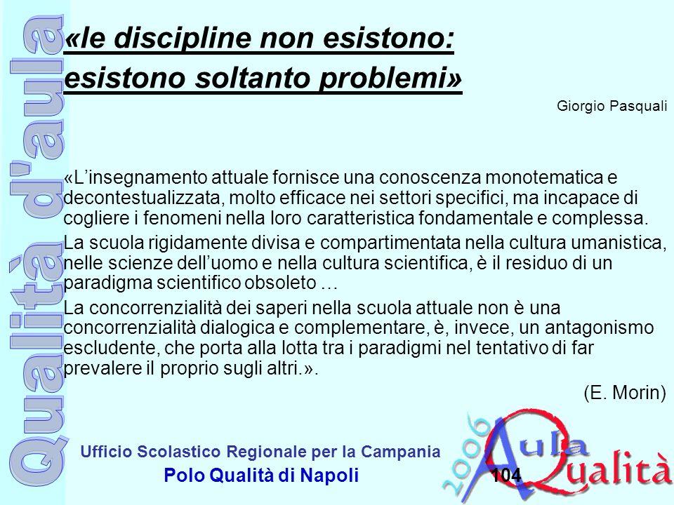 Ufficio Scolastico Regionale per la Campania Polo Qualità di Napoli104 «le discipline non esistono: esistono soltanto problemi» Giorgio Pasquali «Lins