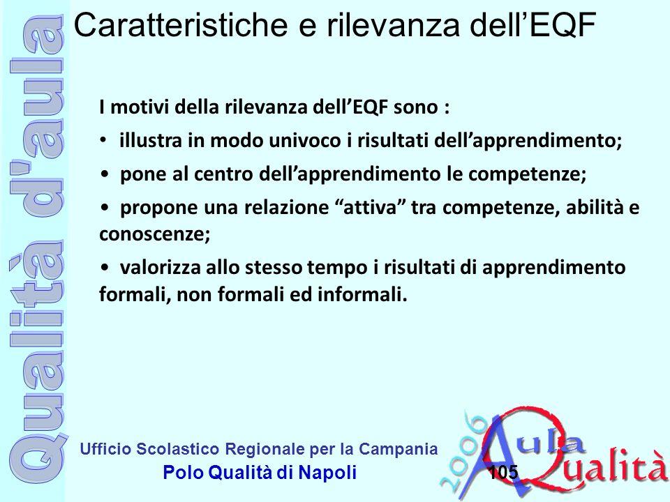 Ufficio Scolastico Regionale per la Campania Polo Qualità di Napoli105 Caratteristiche e rilevanza dellEQF I motivi della rilevanza dellEQF sono : ill