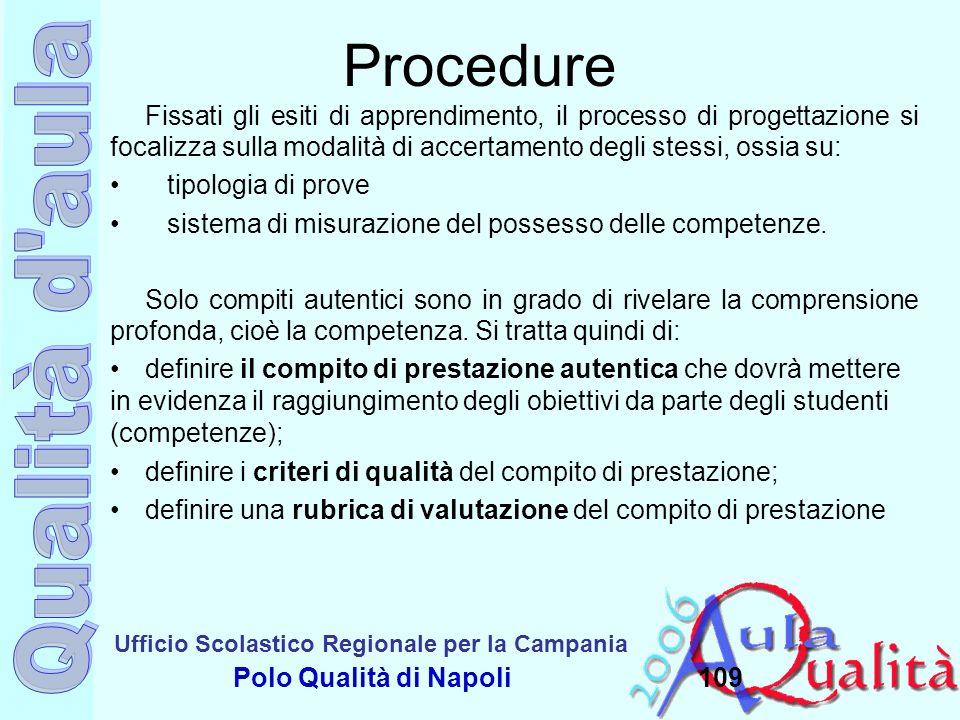 Ufficio Scolastico Regionale per la Campania Polo Qualità di Napoli109 Procedure Fissati gli esiti di apprendimento, il processo di progettazione si f