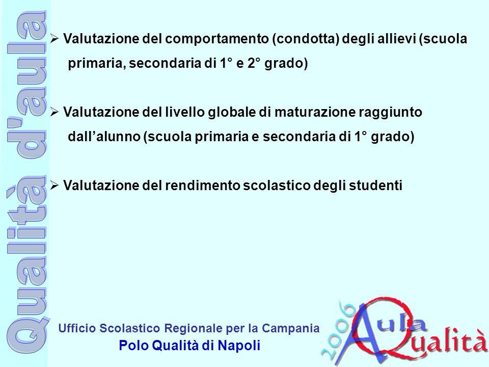 Ufficio Scolastico Regionale per la Campania Polo Qualità di Napoli Valutazione del comportamento (condotta) degli allievi (scuola primaria, secondari