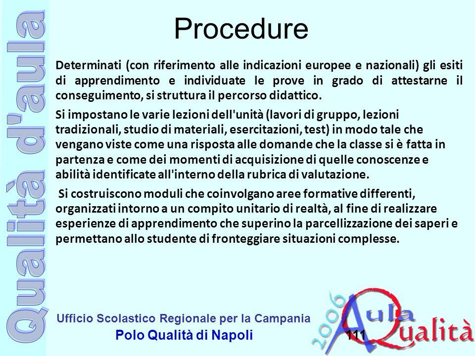 Ufficio Scolastico Regionale per la Campania Polo Qualità di Napoli111 Procedure Determinati (con riferimento alle indicazioni europee e nazionali) gl