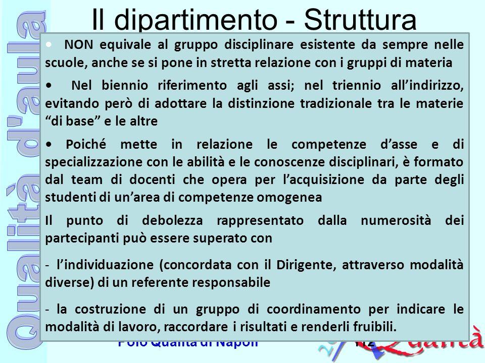 Ufficio Scolastico Regionale per la Campania Polo Qualità di Napoli112 Il dipartimento - Struttura NON equivale al gruppo disciplinare esistente da se