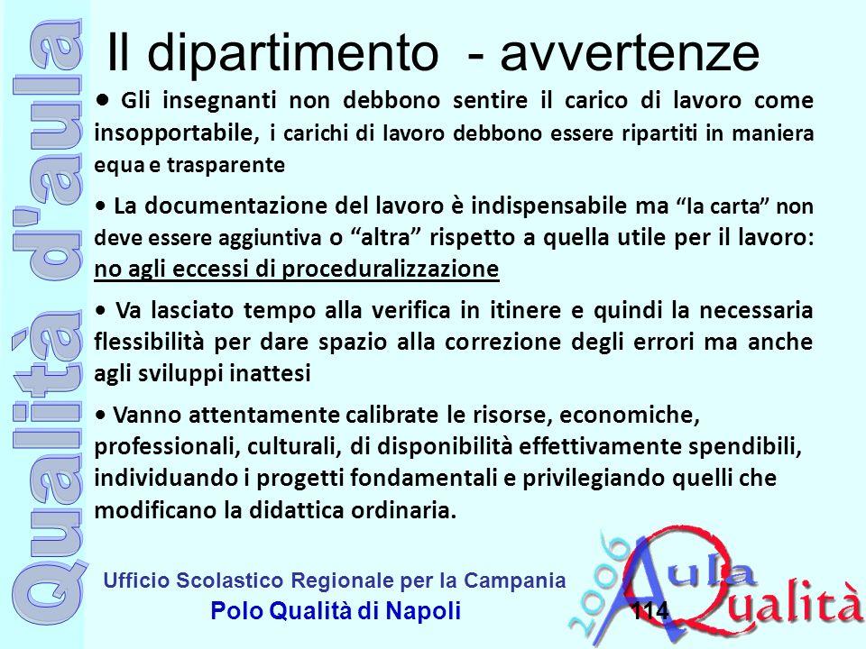 Ufficio Scolastico Regionale per la Campania Polo Qualità di Napoli114 Il dipartimento - avvertenze Gli insegnanti non debbono sentire il carico di la