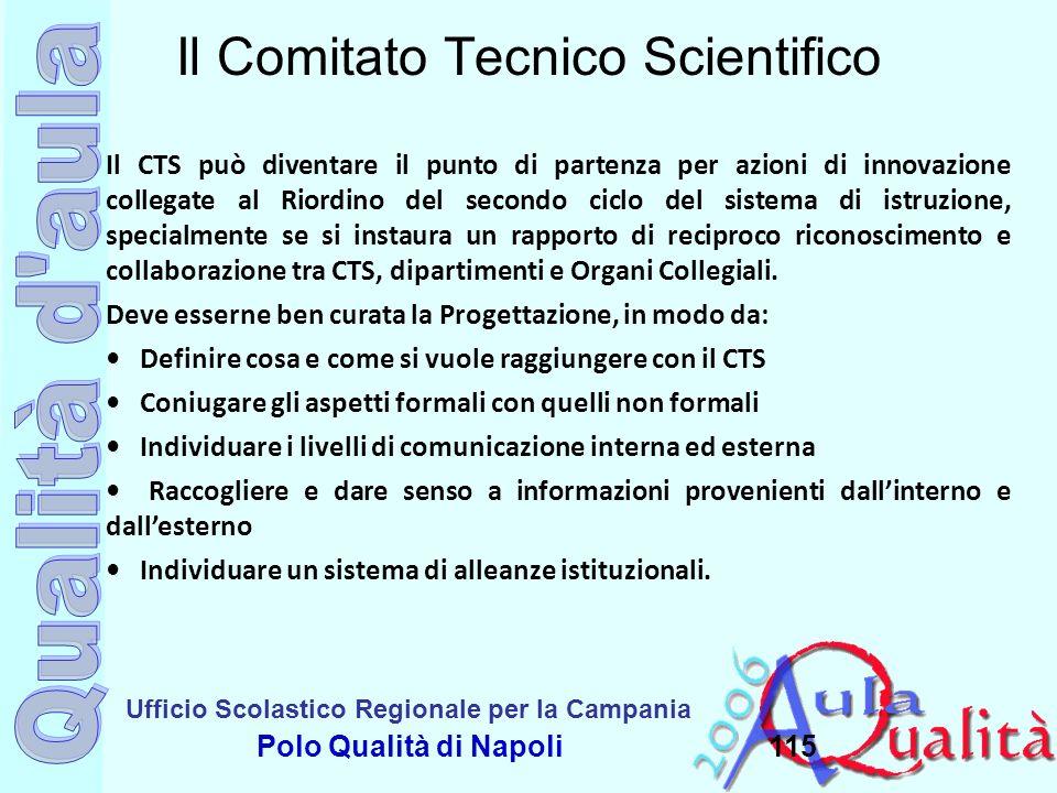 Ufficio Scolastico Regionale per la Campania Polo Qualità di Napoli115 Il Comitato Tecnico Scientifico Il CTS può diventare il punto di partenza per a