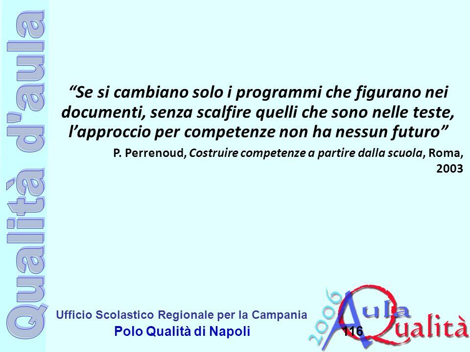 Ufficio Scolastico Regionale per la Campania Polo Qualità di Napoli116 Se si cambiano solo i programmi che figurano nei documenti, senza scalfire quel
